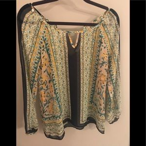 Navy, Yellow and Teal Printed Blouse by Blu Pepper